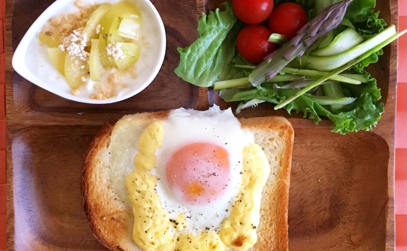 ハードトーストの目玉焼き朝ごはん