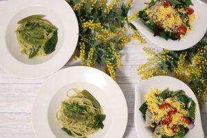 グリーンパスタ 菜の花 スナップエンドウ